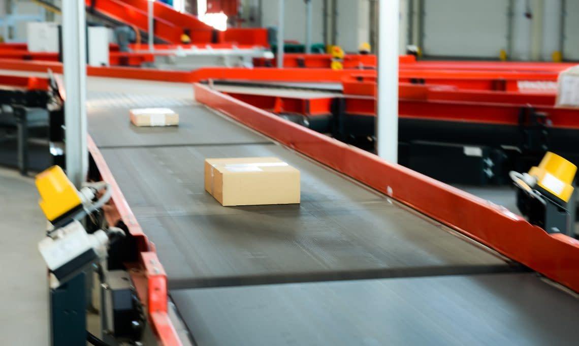 Cardboard boxes on a conveyor belt